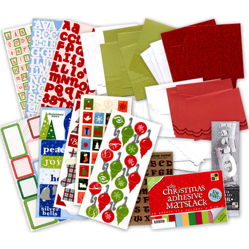 Die Cuts with a View - Christmas - Holiday Card Kit with Envelopes and Embellishments, CLEARANCE