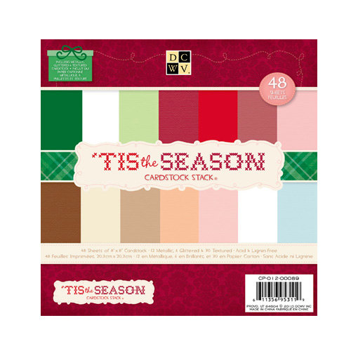 Die Cuts with a View - The 'Tis the Season Collection - Christmas - Foil Glitter and Textured Cardstock Pack - 8 x 8