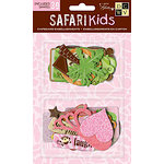 Die Cuts with a View - Safari Kids Collection - Chipboard Pieces with Glitter Accents - Girl Shapes