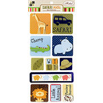 Die Cuts with a View - Safari Kids Collection - 3 Dimensional Stickers with Foil Accents - Animals, CLEARANCE