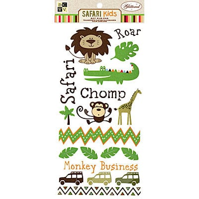 Die Cuts with a View - Safari Kids Collection - Rub Ons with Glitter Accents - Boy, CLEARANCE