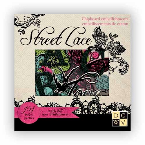Die Cuts with a View - The Street Lace Collection - Foiled Chipboard Box of Embellishment Pieces