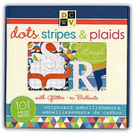 Die Cuts with a View - The Dots Stripes and Plaids Collection - Glittered Chipboard Box of Embellishment Pieces