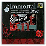Die Cuts with a View - The Immortal Love Collection - Glittered Chipboard Box of Embellishment Pieces