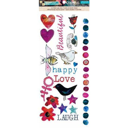 Die Cuts with a View - The Colorful Life Collection - Rub Ons with Glitter Accents