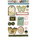 Die Cuts with a View - The Mariposa Collection - 3 Dimensional Cardstock Stickers with Glitter and Felt Accents - Icons