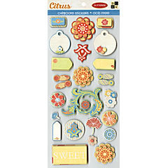 Die Cuts with a View - Citrus Collection - Glittered Chipboard Sticker Sheet