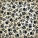 Die Cuts with a View - Le Creme Collection - 12X12 Black Flocked Paper - Tan Floral