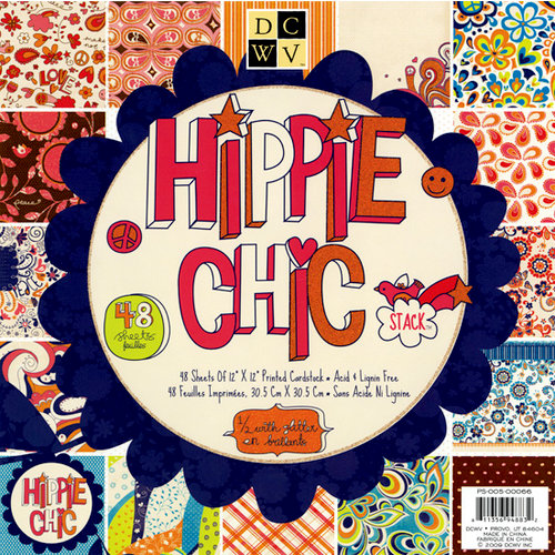 Die Cuts with a View - Hippie Chic Collection - Glitter Paper Stack - 12 x 12