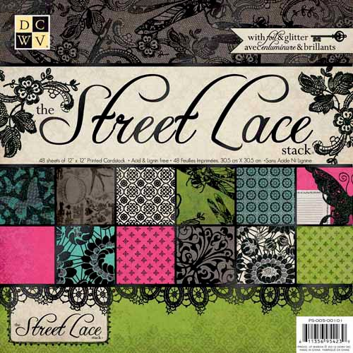 Die Cuts with a View - The Street Lace Collection - Glitter and Foil Paper Stack - 12 x 12