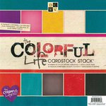 Die Cuts with a View - The Colorful Life Collection - Metallic Glitter and Textured Cardstock Pack - 12 x 12