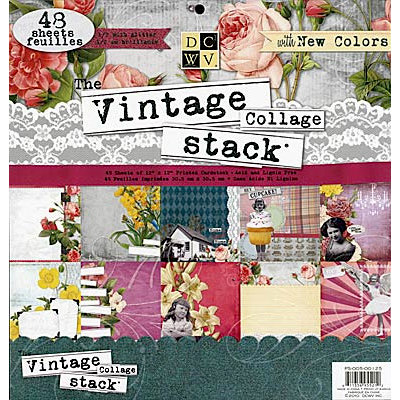 Die Cuts with a View - The Vintage Collage Collection - Glitter Paper Stack - 12 x 12