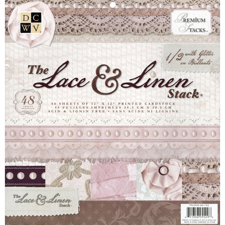 Die Cuts with a View - The Lace and Linen Collection - Glitter Paper Stack - 12 x 12