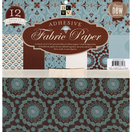 Die Cuts with a View - Adhesive Fabric Paper Stack - Blue Floral - 12 x 12