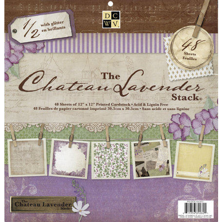 Die Cuts with a View - The Chateau Lavender Collection - Glitter Paper Stack - 12 x 12
