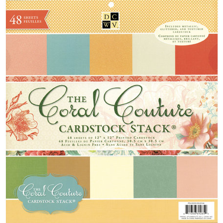 Die Cuts with a View - The Coral Couture Collection - Glitter Metallic and Textured Solid Cardstock Stack - 12 x 12