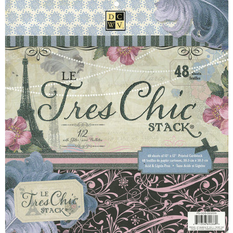 Die Cuts with a View - Le Tres Chic Collection - Glitter Paper Stack - 12 x 12