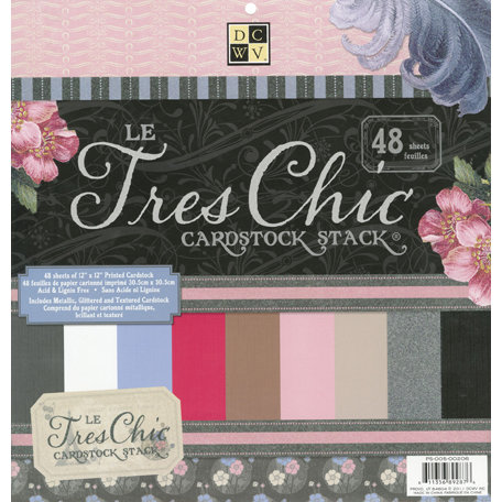 Die Cuts with a View - Le Tres Chic Collection - Glitter Metallic and Textured Solid Cardstock Stack - 12 x 12