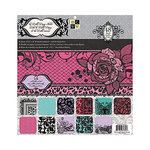 Die Cuts with a View - La Bella Rouge Collection - Foil and Glitter Paper Stack - 12 x 12