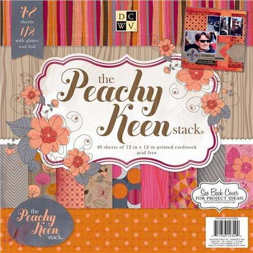 Die Cuts with a View - Peachy Keen Collection - Foil and Glitter Paper Stack - 12 x 12