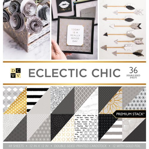 Die Cuts with a View - Electric Chic Collection - Paper Stack - 12 x 12 With Foil Accents