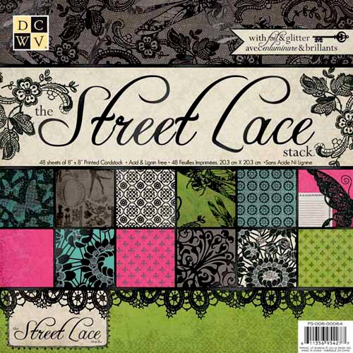 Die Cuts with a View - The Street Lace Collection - Glitter and Foil Paper Stack - 8 x 8