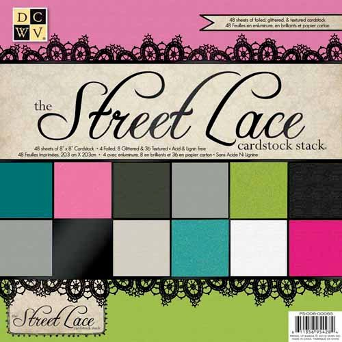 Die Cuts with a View - The Street Lace Collection - Foil Glitter and Textured Solid Cardstock Pack - 8 x 8, CLEARANCE