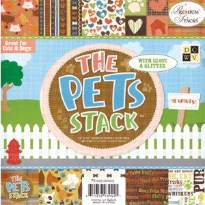 Die Cuts With A View - Pets Collection - Glitter Paper Stack - 8x8, CLEARANCE