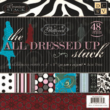 Die Cuts with a View - All Dressed Up Collection - 8X8 Glitter Paper Stack, CLEARANCE