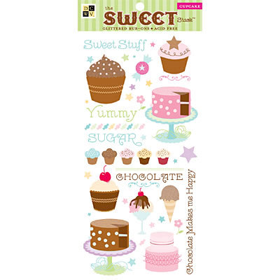 Die Cuts With A View - Sweet Collection - Glitter Rub Ons - Cupcake