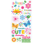 Die Cuts with a View - Blossoms and Butterflies Collection - Glitter Rub Ons - Sayings