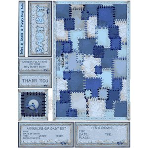 E-Cuts Cards (Download and Print) Baby Boy Quilt