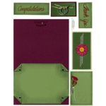 E-Cuts Cards (Download and Print) Burgundy and Green Notes