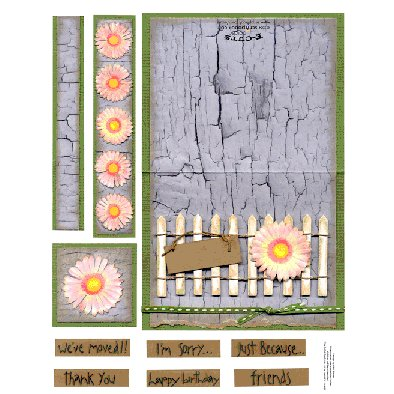 E-Cuts Cards (Download and Print) Fence Flower