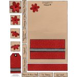 E-Cuts Cards (Download and Print) Red Country Flowers
