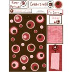 E-Cuts Cards (Download and Print) Retro Circles Pink & Brown