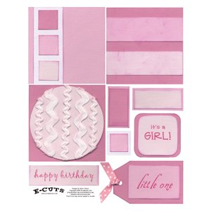 E-Cuts (Download and Print) 4x4 Album Kit: Baby Girl 1
