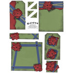 E-Cuts (Download and Print) Red Flowers Green Blue