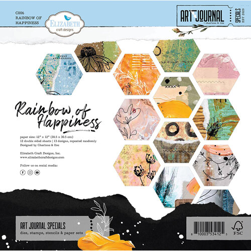 Elizabeth Craft Designs - 12 x 12 Double Sided Paper Pack - Rainbow of Happiness
