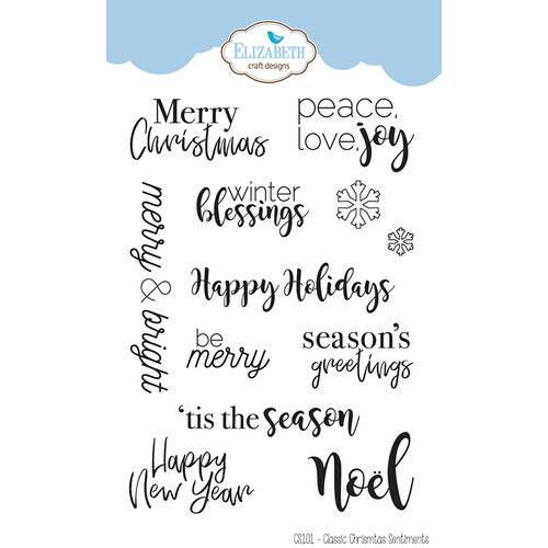 Christmas Sentiments For Cards.Elizabeth Craft Designs Clear Photopolymer Stamps Classic Christmas Sentiments