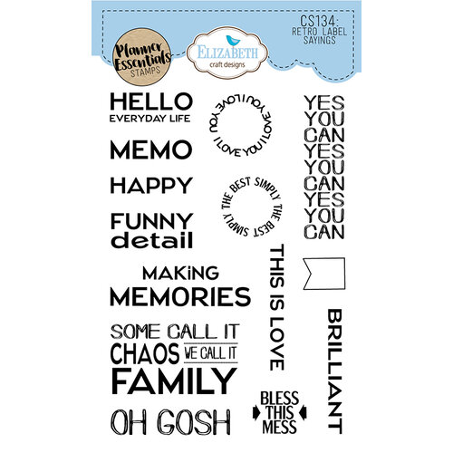 Elizabeth Craft Designs - Clear Photopolymer Stamps - Retro Labels Sayings