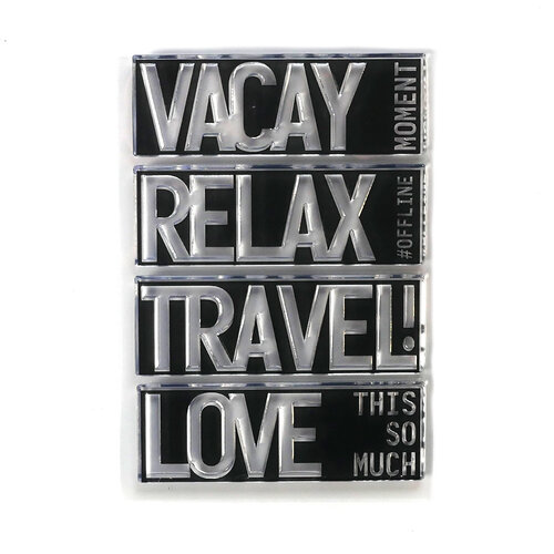 Elizabeth Craft Designs - Clear Photopolymer Stamps - Block Words - Travel