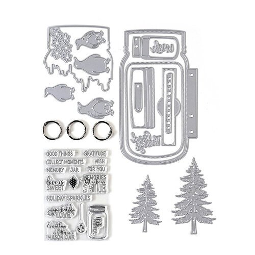 Elizabeth Craft Designs - Dies and Clear Photopolymer Stamp Set - Mason Jar Kit