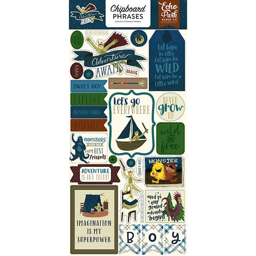 Echo Park - Adventure Awaits Collection - Chipboard Stickers - Phrases
