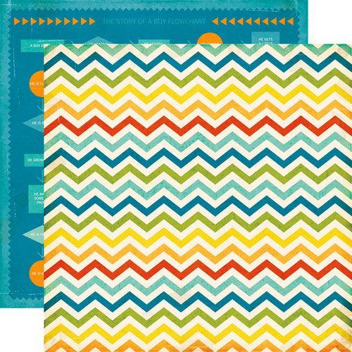 Echo Park - All About a Boy - 12 x 12 Double Sided Paper - Chevron Stripe