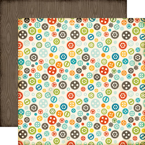 Echo Park - All About a Boy - 12 x 12 Double Sided Paper - Gears