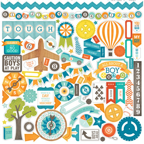 Echo Park - All About a Boy - 12 x 12 Cardstock Stickers - Elements