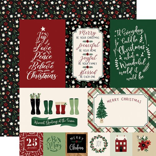 Echo Park - A Cozy Christmas Collection - 12 x 12 Double Sided Paper - Journaling Cards