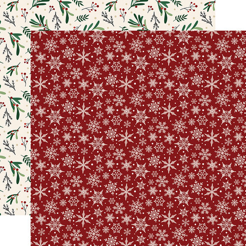 Echo Park - A Cozy Christmas Collection - 12 x 12 Double Sided Paper - Snowflakes