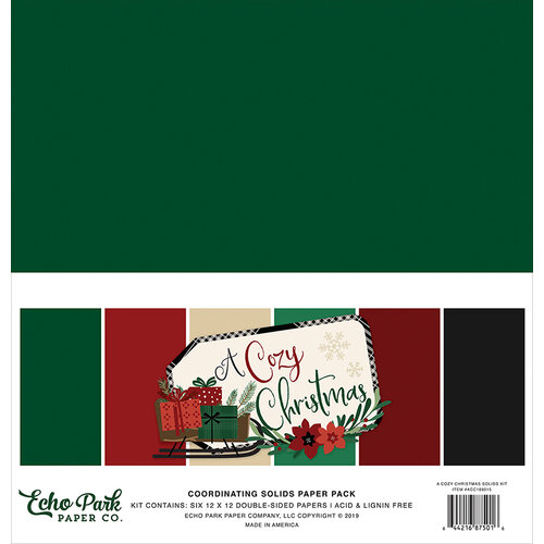 Echo Park - A Cozy Christmas Collection - 12 x 12 Paper Pack - Solids